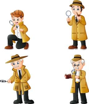 Conjunto de coleta de detetives bonito dos desenhos animados
