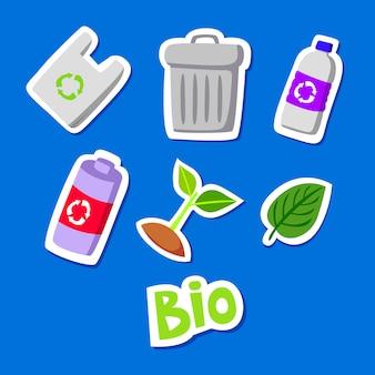 Conjunto de coleta de doodle adesivo eco