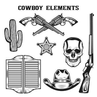 Conjunto de coleta de elementos vintage de cowboy do velho oeste