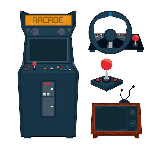Conjunto de coleta de equipamentos de arcade videogame retrô