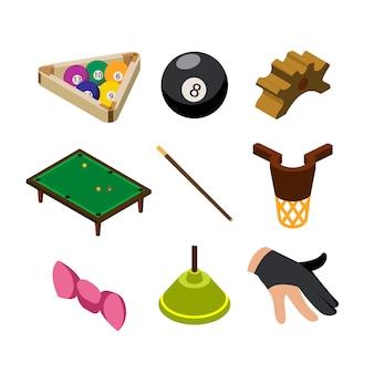 Conjunto de coleta de equipamentos de pagamento de jogo de sinuca