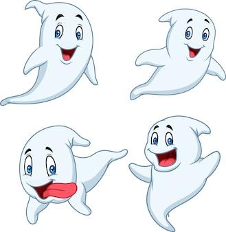 Conjunto de coleta de fantasma dos desenhos animados isolado no fundo branco