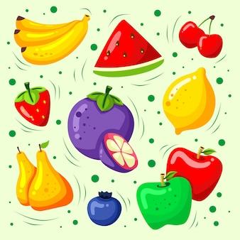 Conjunto de coleta de frutas coloridas