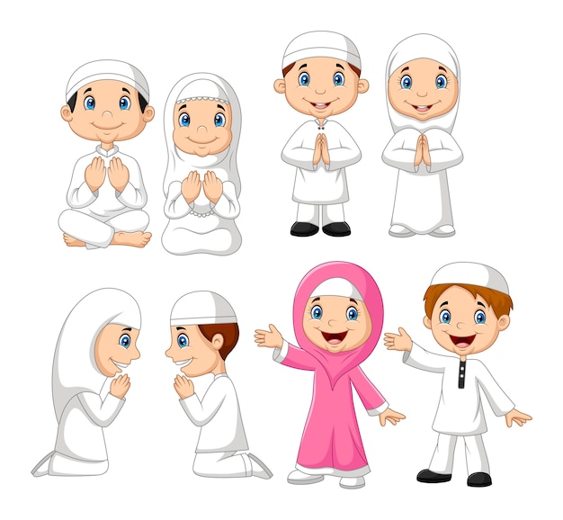 Conjunto de coleta de garoto muçulmano dos desenhos animados