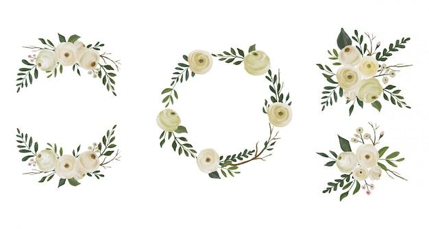 Conjunto de coleta de grinaldas de flores em aquarela