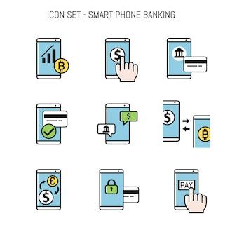 Conjunto de coleta de ícone bancário para design