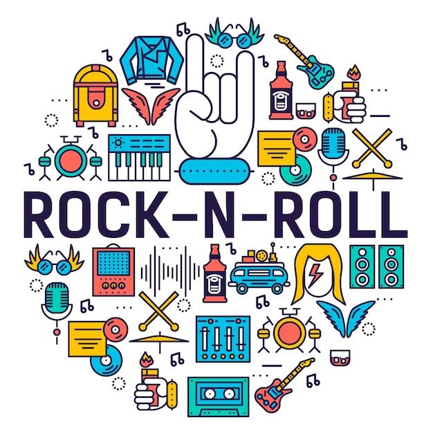 Conjunto de coleta de ícones de contorno de círculo rock n roll