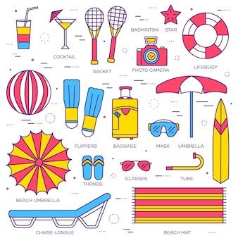 Conjunto de coleta de ícones de linha fina de férias de verão