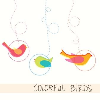 Conjunto de coleta de ícones de pássaros coloridos ilustração em vetor