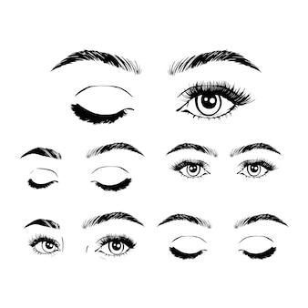 Conjunto de coleta de imagens de olhos e sobrancelhas de mulher feminina.