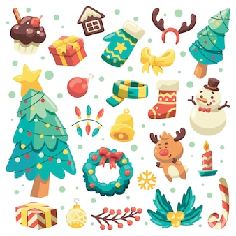 Conjunto de coleta de itens de férias de natal, design de elemento para cartão comemorativo
