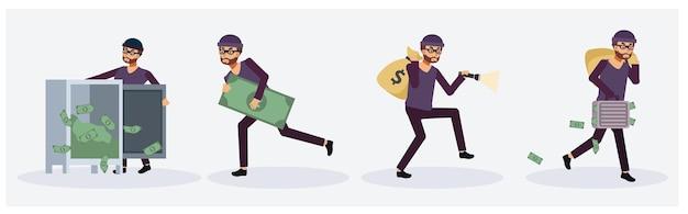 Conjunto de coleta de ladrão masculino em ação variada, pessoa criminosa.