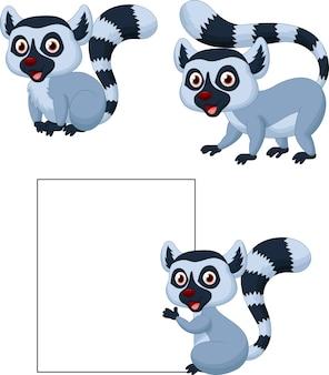 Conjunto de coleta de lêmure bonito dos desenhos animados