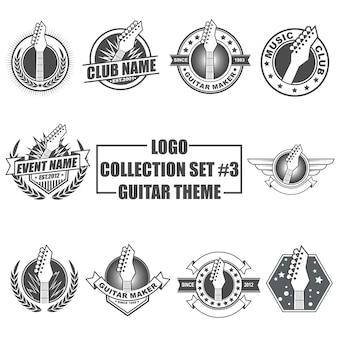 Conjunto de coleta de logotipo com tema de guitarra