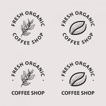 Conjunto de coleta de logotipo de café