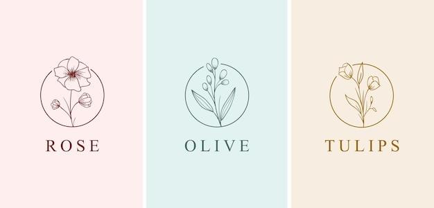 Conjunto de coleta de logotipo de estilo desenhado à mão de bela flor