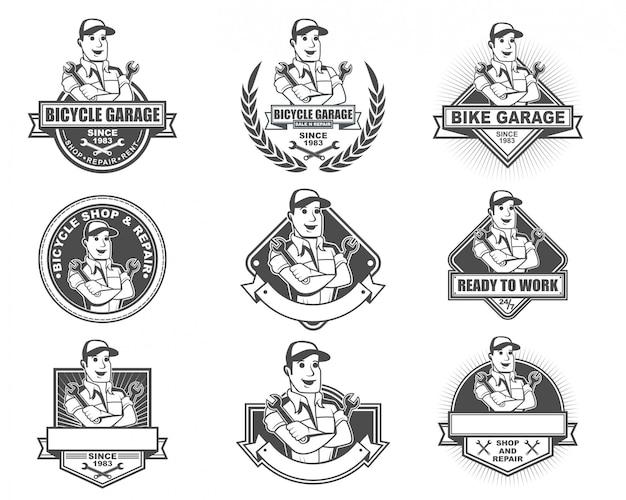 Conjunto de coleta de logotipo vintage para loja de bicicletas