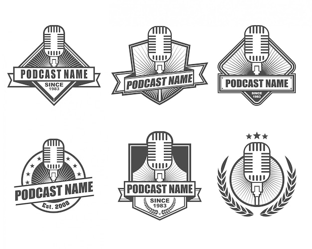 Conjunto de coleta de logotipo vintage para podcast