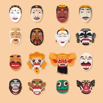 Conjunto de coleta de máscara de bali topeng bali