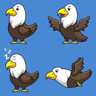 Conjunto de coleta de mascote dos desenhos animados de águia