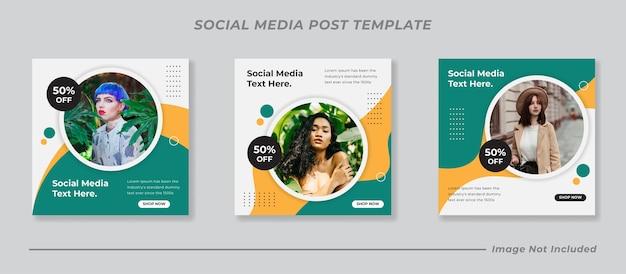 Conjunto de coleta de modelo de postagem de mídia social moderna