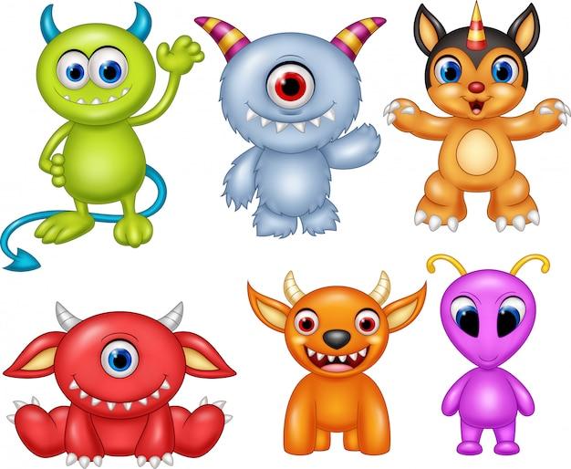 Conjunto de coleta de monstro dos desenhos animados
