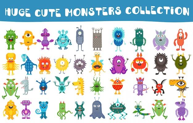 Conjunto de coleta de monstros bonitinho vector