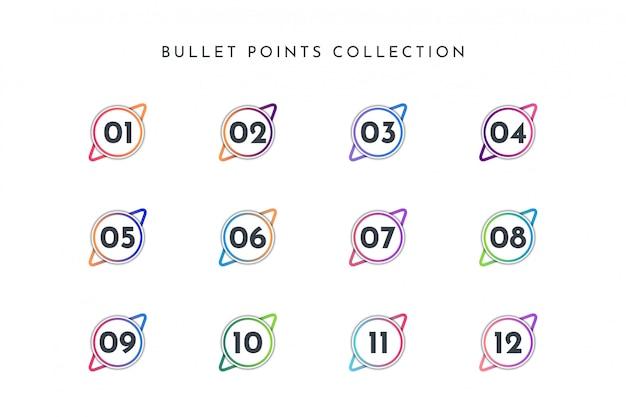 Conjunto de coleta de número de ponto de bala círculo colorido 1 a 12