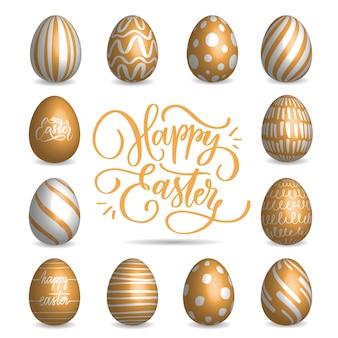 Conjunto de coleta de ovos de páscoa bege em um fundo branco