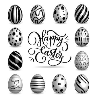 Conjunto de coleta de ovos de páscoa preto e branco