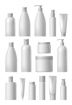 Conjunto de coleta de pacote cosmético em branco