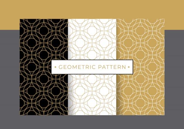 Conjunto de coleta de padrão geométrico de luxo ouro.