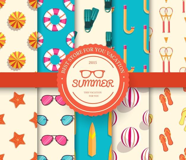 Conjunto de coleta de padrão sem emenda de férias de verão