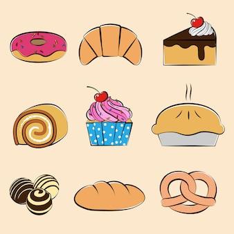 Conjunto de coleta de pastelaria e sobremesas, estilo desenhado à mão