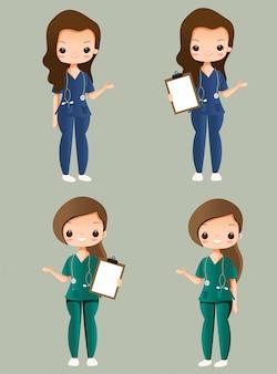 Conjunto de coleta de personagem de desenho animado bonito enfermeira