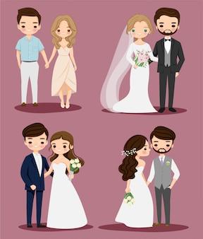 Conjunto de coleta de personagem de desenho animado bonito quarto de noiva ang