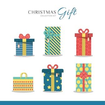 Conjunto de coleta de presente de feliz natal