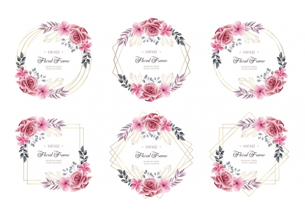 Conjunto de coleta de quadro floral aquarela