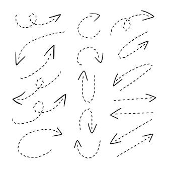Conjunto de coleta de seta com linha tracejada
