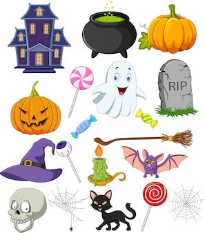 Conjunto de coleta de símbolos de halloween dos desenhos animados