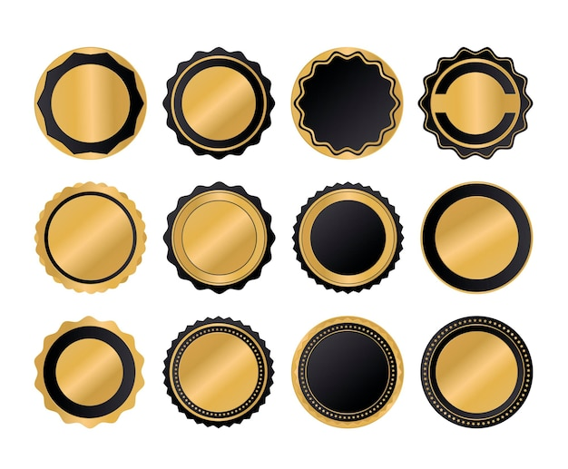 Conjunto de coleta de sinal de etiqueta de qualidade dourada de luxo Vetor Premium