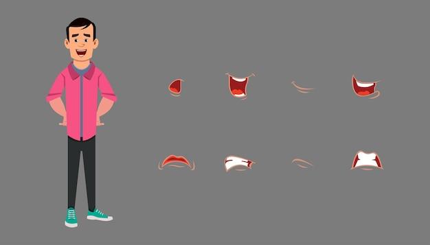 Conjunto de coleta de sincronização labial emoções diferentes para animação personalizada