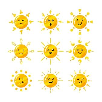 Conjunto de coleta de sol de desenho animado bonito e plano