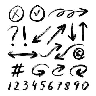 Conjunto de coleta de textura de flecha com pincéis