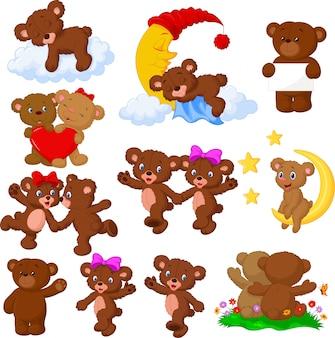 Conjunto de coleta de urso feliz dos desenhos animados