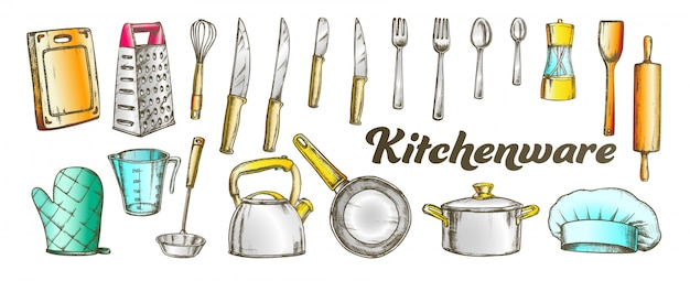 Conjunto de coleta de utensílios de cozinha