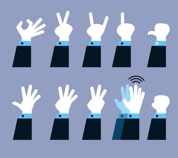Conjunto de coleta de vetor de gesto com a mão plana.
