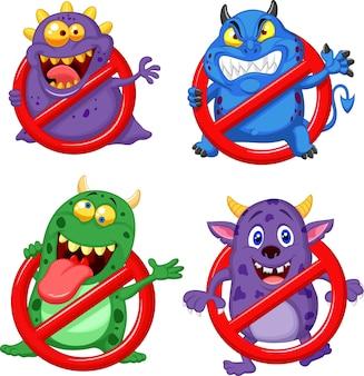 Conjunto de coleta de vírus de parada de desenhos animados