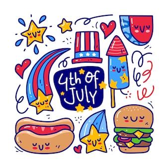 Conjunto de coleta doodle de 4 de julho elemento