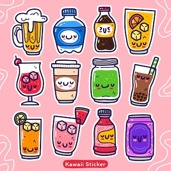 Conjunto de coleta doodle de elemento de bebida Vetor Premium